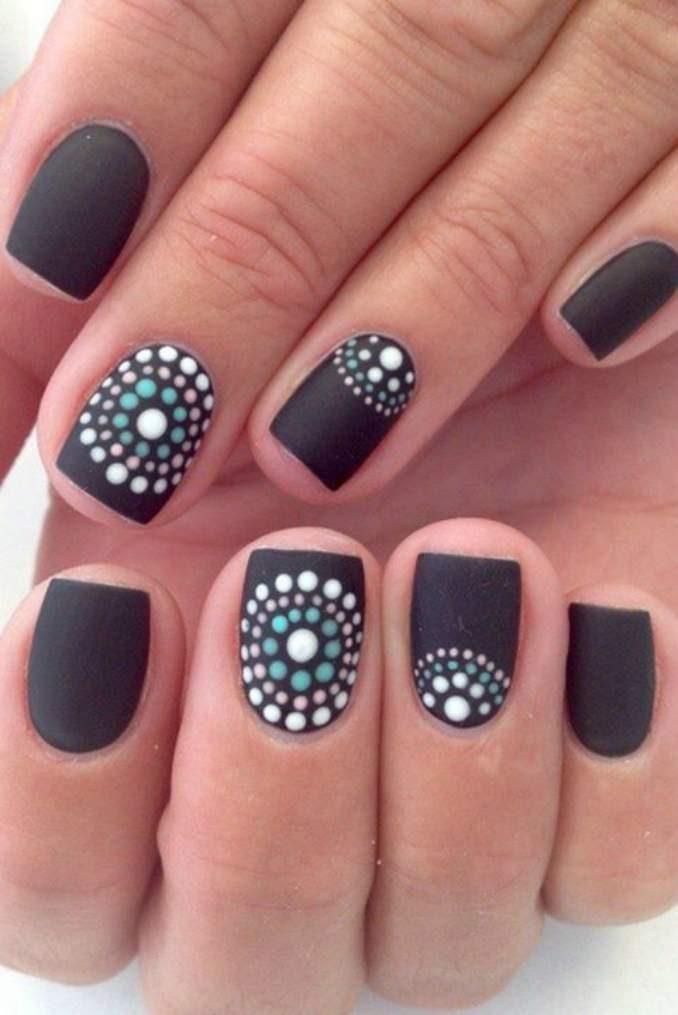 дизайн коротких черных ногтей фото