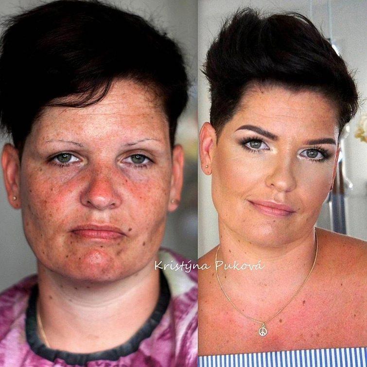 Преображение женщин после нанесения макияжа