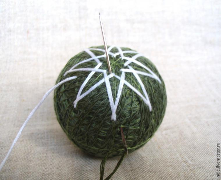 Необычное украшение на новогоднюю ёлку — темари