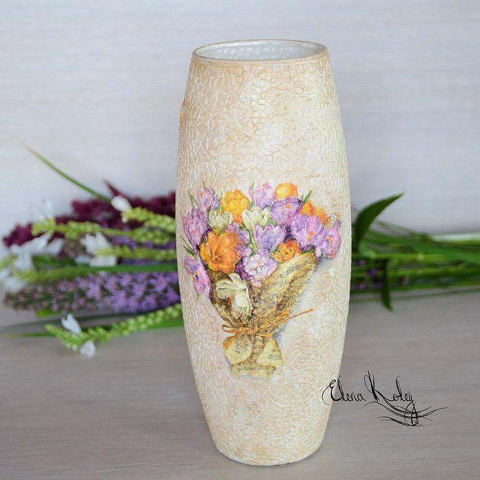 декорирование стеклянных ваз своими руками фото