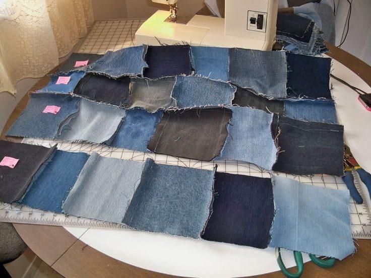 Одеяло-плед из старых джинсов