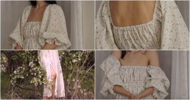 Красивое и романтичное платье без выкройки своими руками