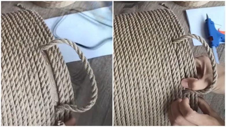 Интерьерная корзина из обычной верёвки