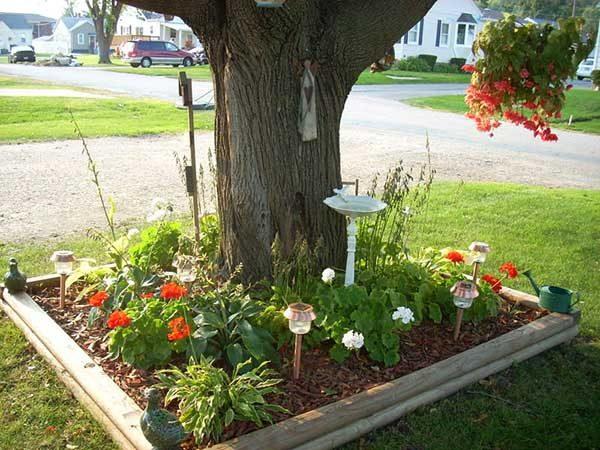 Красивые идеи клумб вокруг дерева